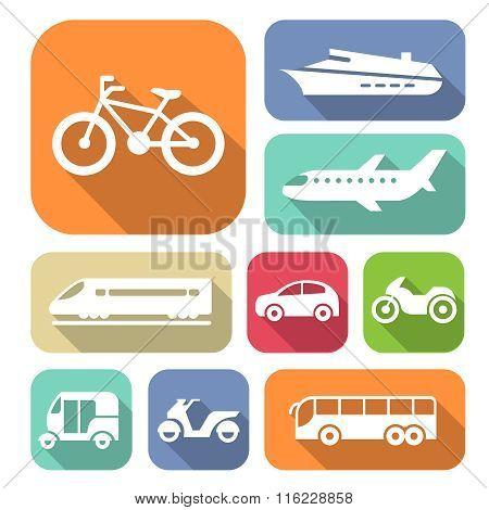 White Travel Transport Flat Icons Set