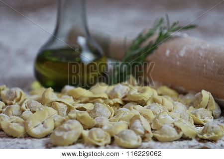 Italian Fresh Pasta Tortellini with Ingredients