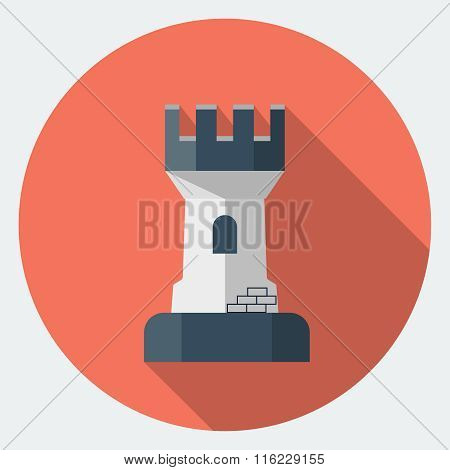 Vector rook chess flat icon