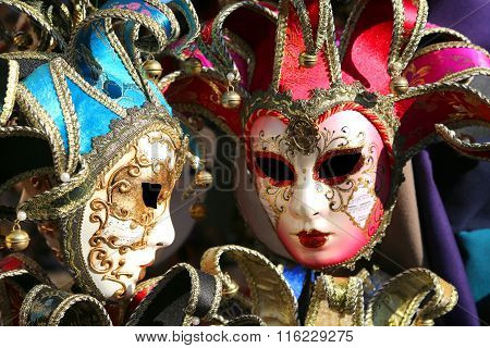 Carnival Masks For Masquerade During The Celebrations In Venice