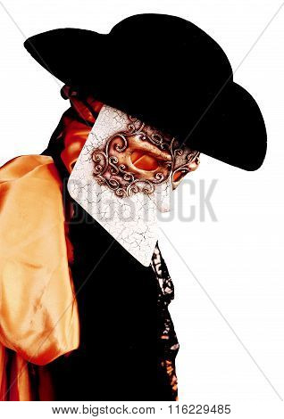 Venice Carnival Costume Of An Ancient Noble Venetian With  Mask