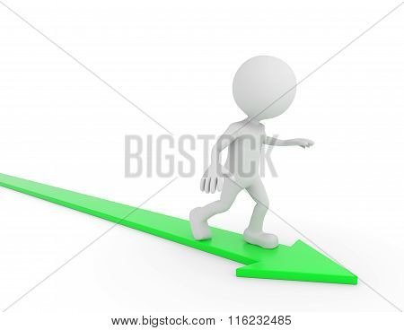 White 3D Human Surfing On A Green Arrow