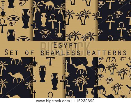 Egypt. Set Of Seamless Patterns. Symbols Of Egypt. Ornament. Vector Illustration.
