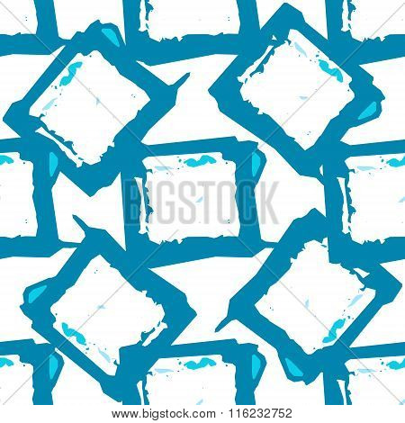 Abstract geometric blue spotty square seamless pattern. Modern repeating background texture.
