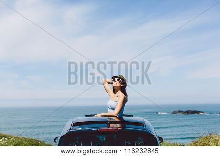 Happy Woman Enjoying Summer Car Travel