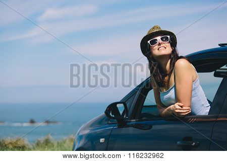 Relaxed Woman On Summer Car Road Trip Vacation