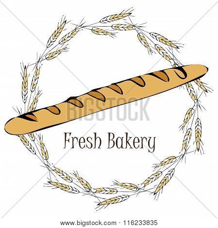 vector illustration with french baguette. french baking