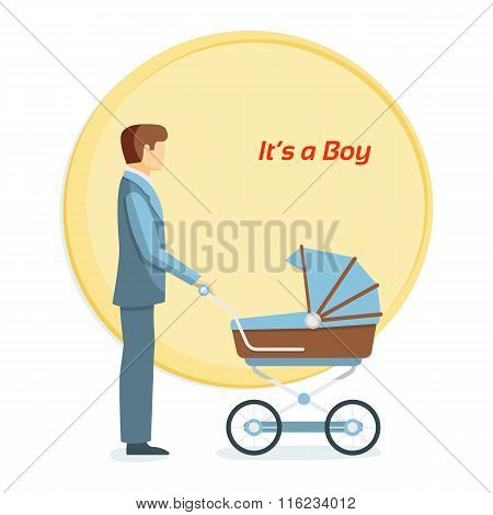 Father and baby. It's a boy. Flat vector illustration.