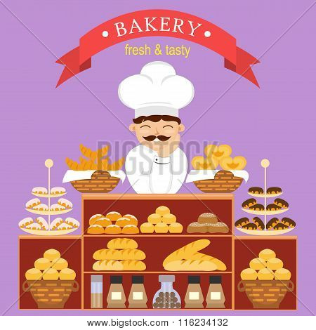 Baker behind the counter with baking bread in the bakery