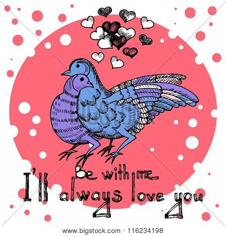 Love doves of Valentine's day