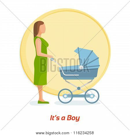 Mother and baby. It's a boy. Flat vector illustration.
