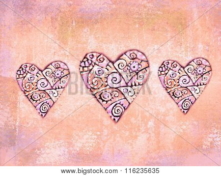 Abstract Folkloric Hearts On Grunge Background Wth Ethnic Motif. Decoration For Ethnic Design. Love