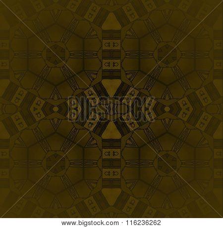 Seamless hexagon and diamond pattern gold brown