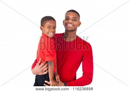 African American Man With Holding  His Little Boy Isolated On White Background