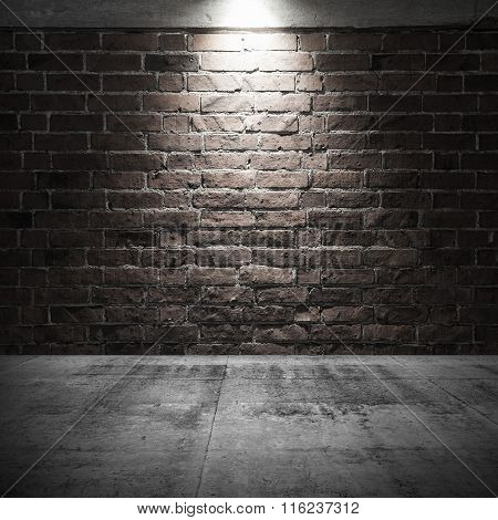 Concrete Floor And Brick Wall With Spot Light Illumination