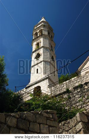 Church bell tower in Perast
