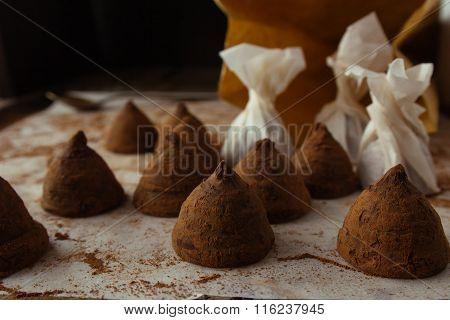 Chocolate Truffles On Cooking Sheet Closeup