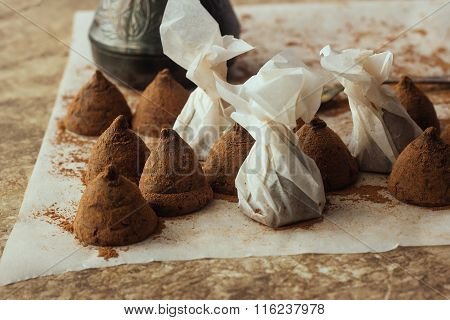 Homemade Chocolate Truffles On Cooking Paper