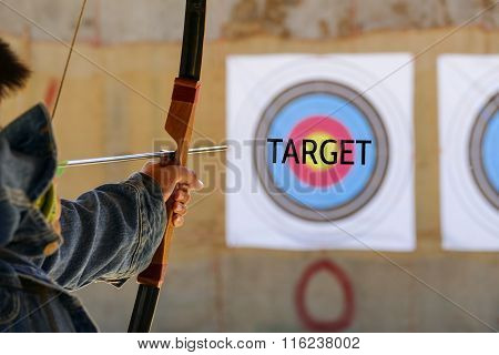 Archer Is Aiming The Archery At The Target