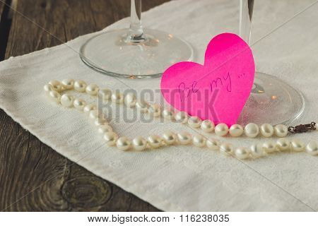 Pink Paper Heart With Love Confession And Pearls