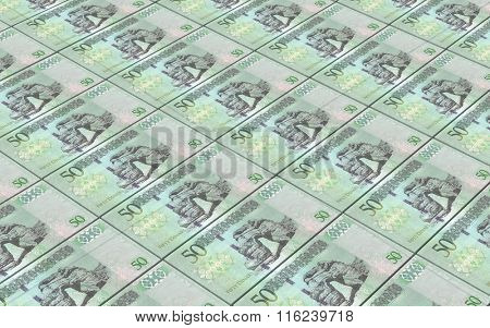 Libyan dinar bills stacked background. Computer generated 3D photo rendering.