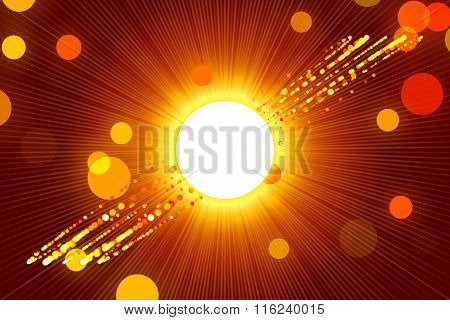 Red Abstract Background, Ray And Gold Particle