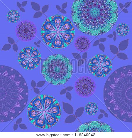 Seamless floral pattern purple turquoise pink violet