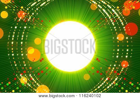 Green Abstract Background, Ray And Gold Particle