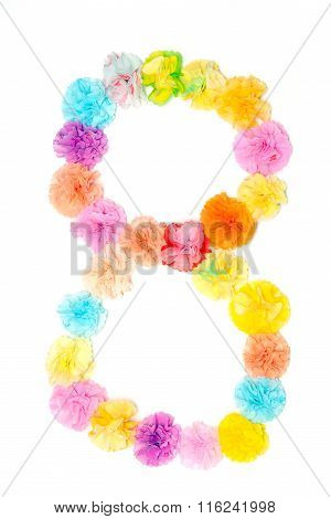 """8"" Number Alphabet Flowers Made From Paper Craftwork"