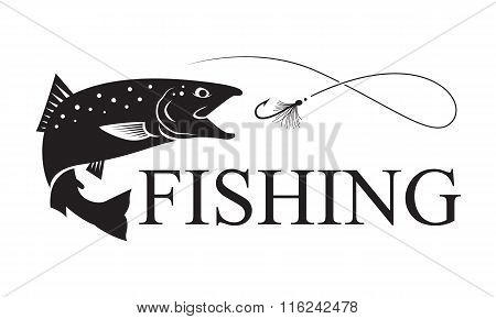 fishing salmon, vector