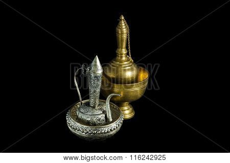 Old Silver And Brass Ewer Container Pour Water, Buddhism