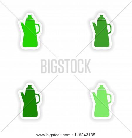 assembly realistic sticker design on paper coffee maker