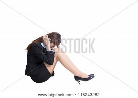 Business Woman Feel Unhappy