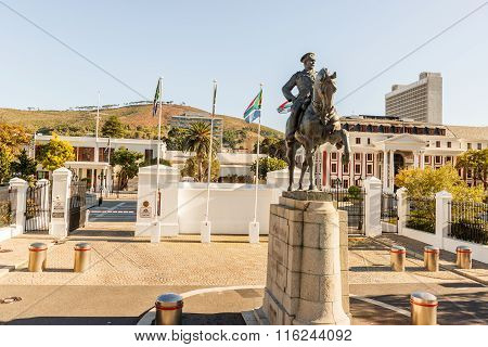 Statue Of Louis Botha In Front Of The South African Parliament Building In Cape Town