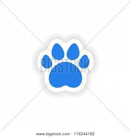 icon sticker realistic design on paper traces of animals