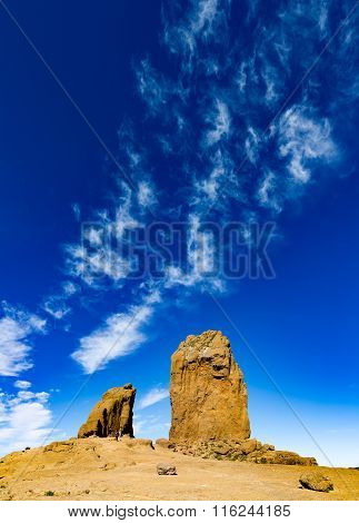 Large blue sky over Roque Nublo, ritual rock