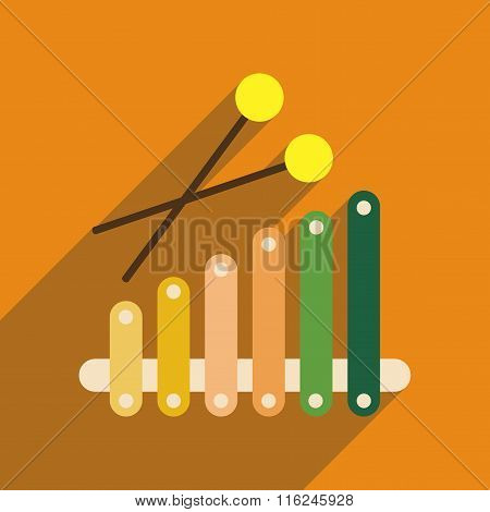 Flat web icon with long shadow instrument xylophone