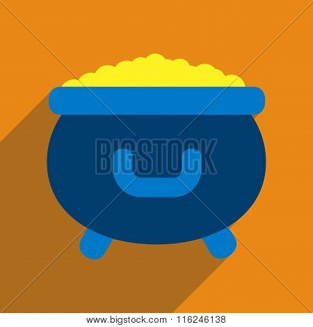Flat web icon with long shadow cauldron gold