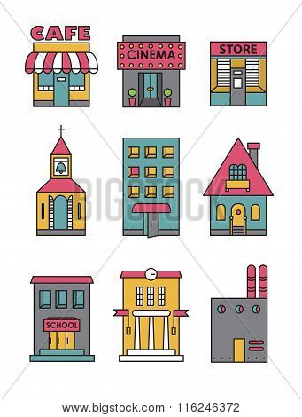 Set of vector flat icons of buildings