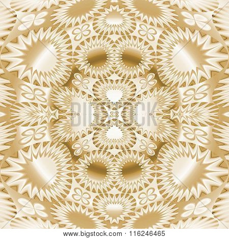 Seamless ornament beige gold shiny