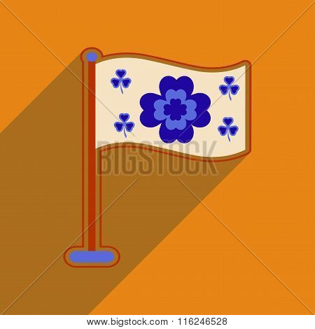 Flat web icon with long shadow flag clover