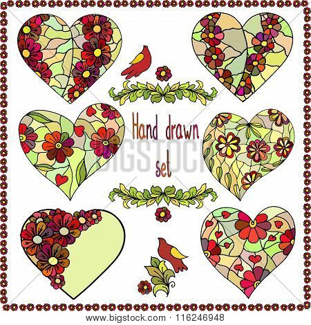 Set of six hand drawn hearts with floral frame