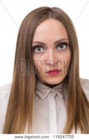 Closeup portrait of sad and depressed woman isolated on white
