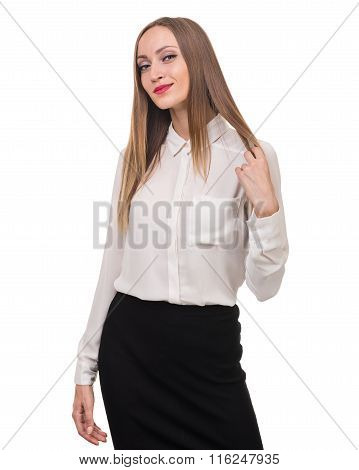 Portrait of happy young business woman isolated on white