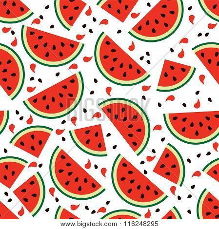 Vector Watermelon Seamless Background Pattern