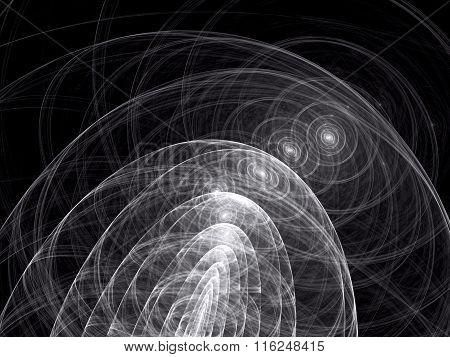 Abstract digitally generated image curls and circles