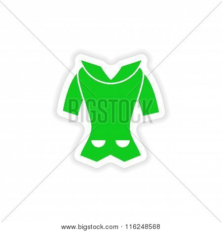 stylish paper sticker on white background cardigan