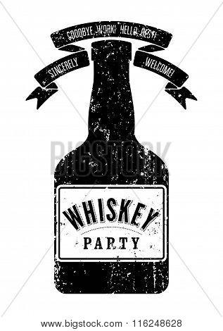 Typographic retro grunge design Whiskey Party poster. Vintage label with stylized whiskey bottle. Ve