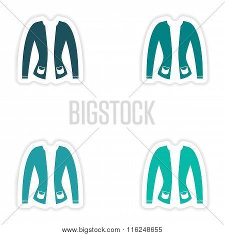 concept stylish paper sticker on white background cardigan
