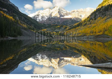 Snow On The Maroon Bells Near Aspen Colorado